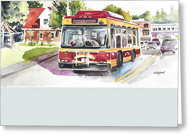 Downtown Trolley Greeting Card