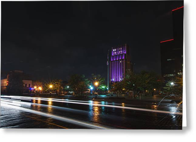 Downtown Tyler Texas At Night Greeting Card