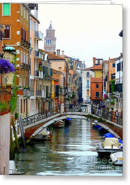 Downtown Venice Greeting Card by Bishopston Fine Art