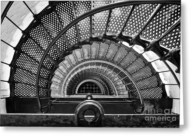 Downward Spiral Bw Greeting Card by Douglas Stucky
