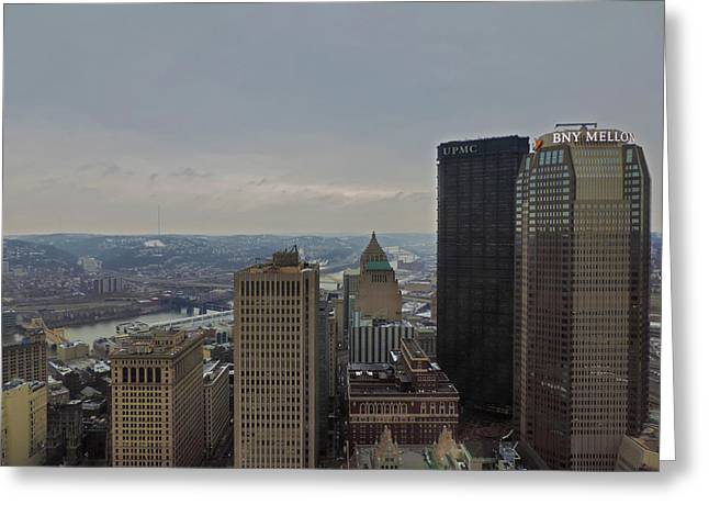 Dowtown Pittsburgh At Roof Level Greeting Card by Cityscape Photography