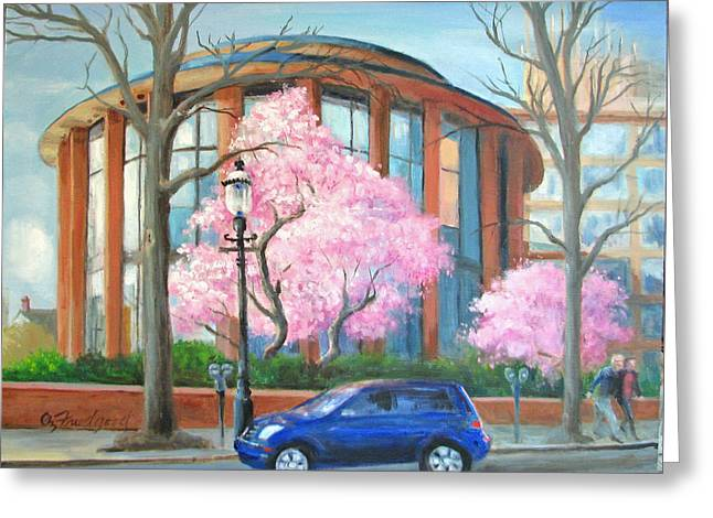 Greeting Card featuring the painting Doylestown Court House by Oz Freedgood