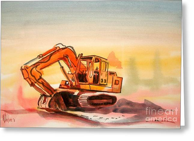 Dozer In Watercolor  Greeting Card