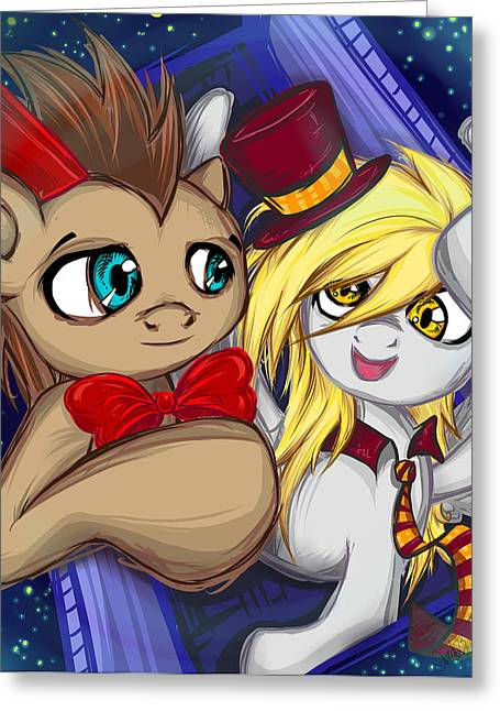 Dr. And Derpy Greeting Card by Sarah Bavar