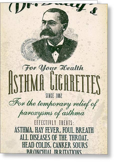 Dr Batty's Asthma Cigarettes Greeting Card by Jon Neidert