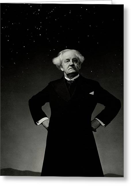 Dr. Gerhart Hauptmann With His Hands On His Hips Greeting Card by Edward Steichen