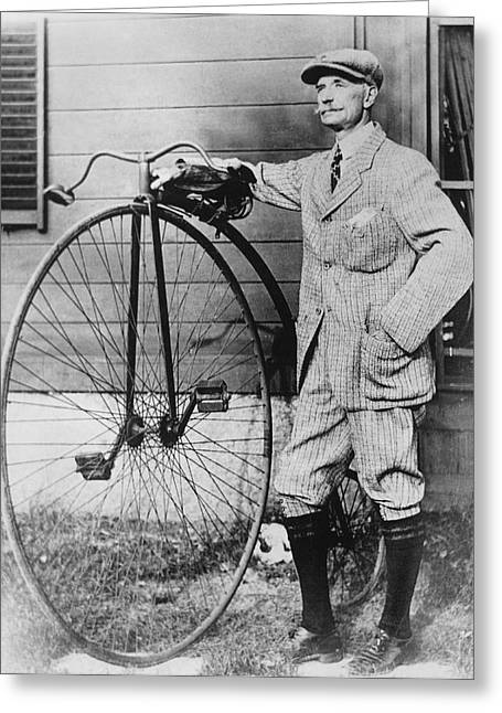 Dr. Kendall With His Bicycle Greeting Card by Underwood Archives