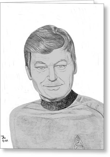 Greeting Card featuring the drawing Dr. Leonard Mccoy by Thomas J Herring