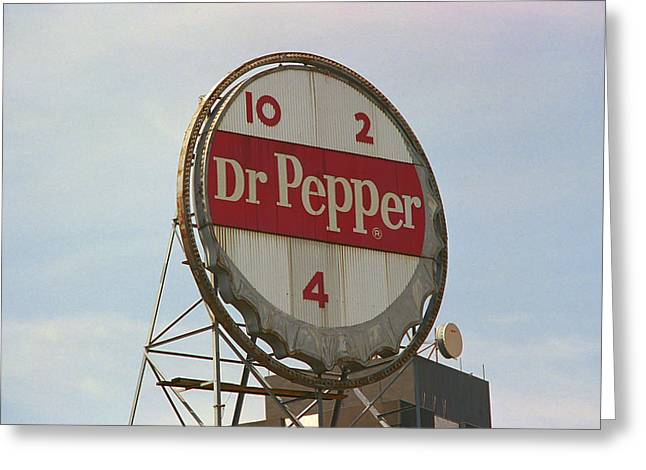 Dr. Pepper Bottle Top Greeting Card by Frank Romeo