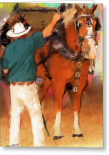 Draft Horse And Trainer Greeting Card