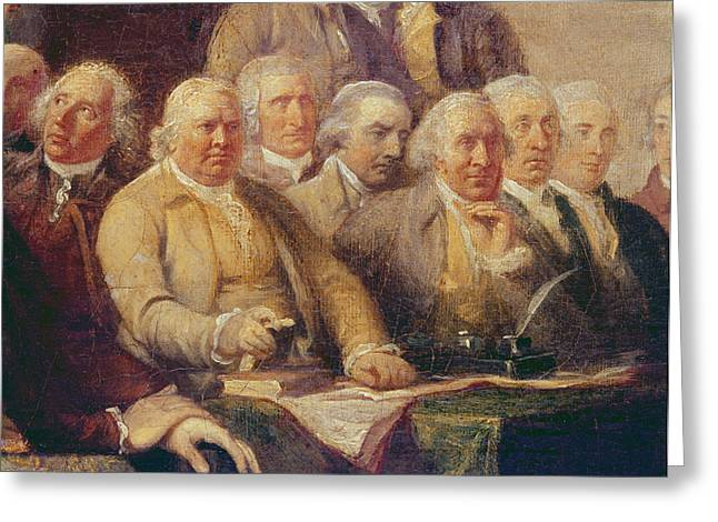 Drafting The Declaration Of Independence, 28th June 1776, C.1817 Oil On Canvas Detail Of 702745 Greeting Card