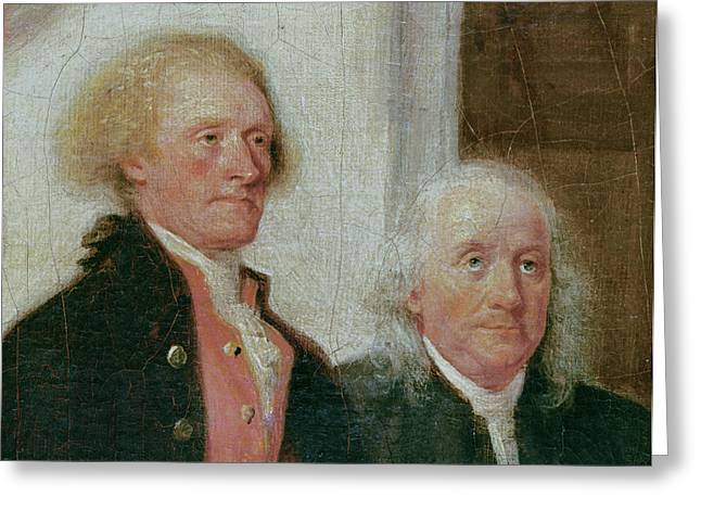 Drafting The Declaration Of Independence, 28th June 1776, Detail Of Thomas Jefferson 1743-1826 Greeting Card