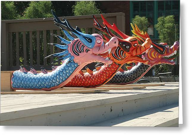 Dragon Boat Heads Greeting Card by Mitzi Lai