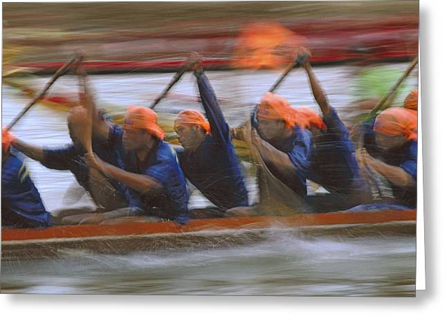 Dragon Boat Racing Thailand Greeting Card by Richard Berry