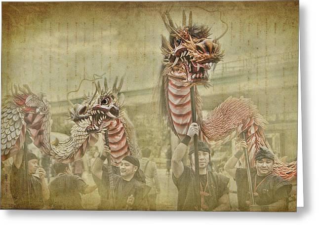 Dragon Festival Greeting Card by Karen Walzer
