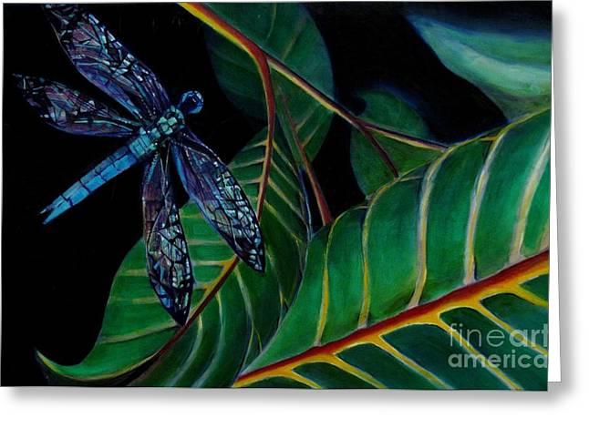 Dragon Fly Soaring - Botanical Greeting Card by Grace Liberator