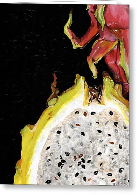 dragon fruit yellow and red Elena Yakubovich Greeting Card by Elena Yakubovich