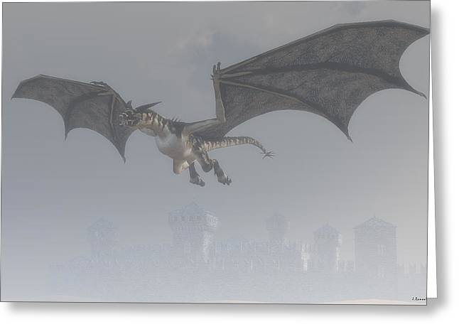 Dragon In The Fog Greeting Card by Ramon Martinez