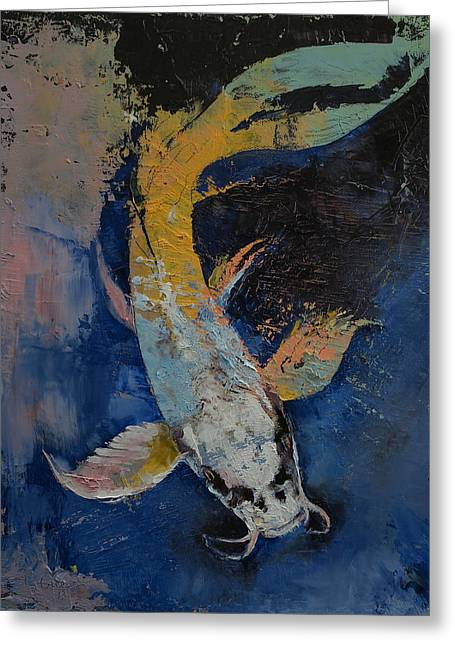 Dragon Koi Greeting Card by Michael Creese