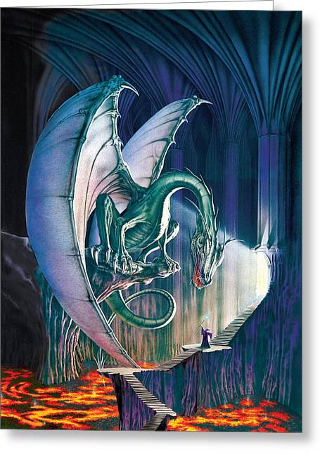 Dragon Greeting Cards - Dragon Lair With Stairs Greeting Card by The Dragon Chronicles - Robin Ko