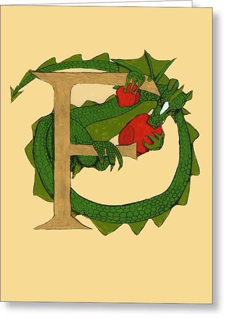 Dragon Letter F Greeting Card