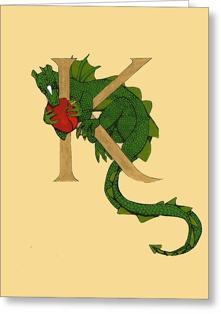 Dragon Letter K Greeting Card