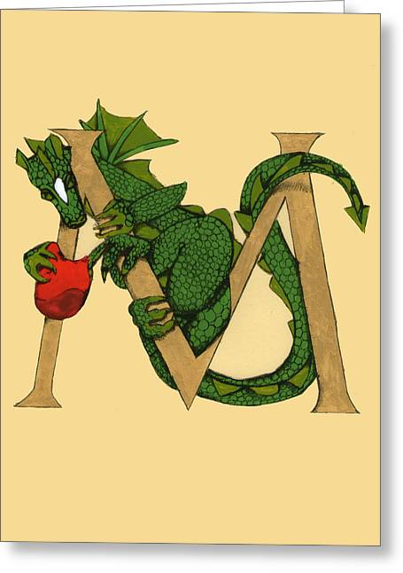 Dragon Letter M Greeting Card