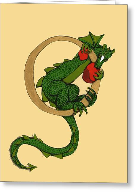 Dragon Letter O Greeting Card
