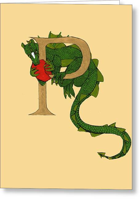 Dragon Letter P Greeting Card