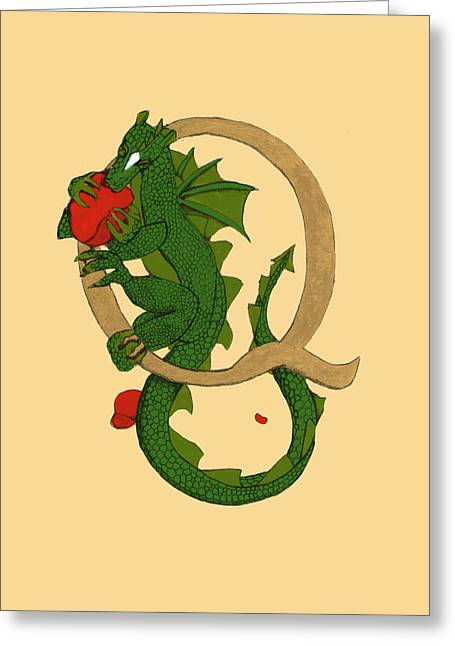 Dragon Letter Q Greeting Card