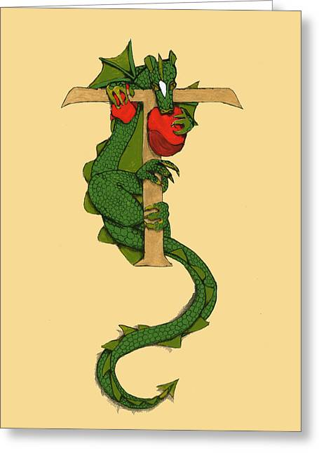Greeting Card featuring the drawing Dragon Letter T by Donna Huntriss