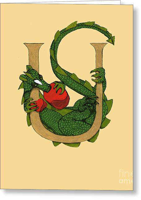 Dragon Letter U Greeting Card
