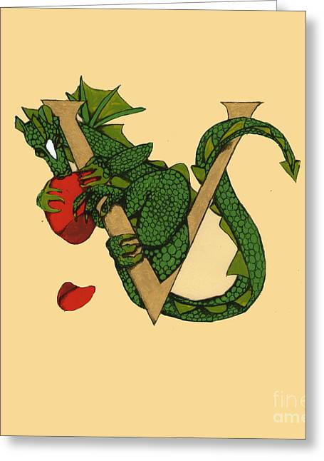Dragon Letter V Greeting Card