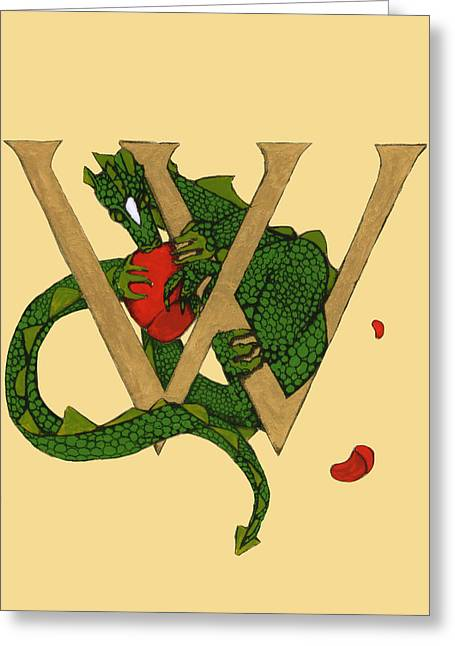 Dragon Letter W Greeting Card