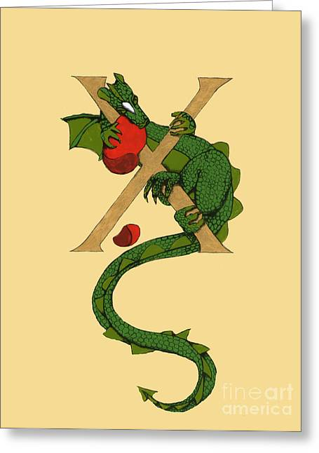 Dragon Letter X Greeting Card