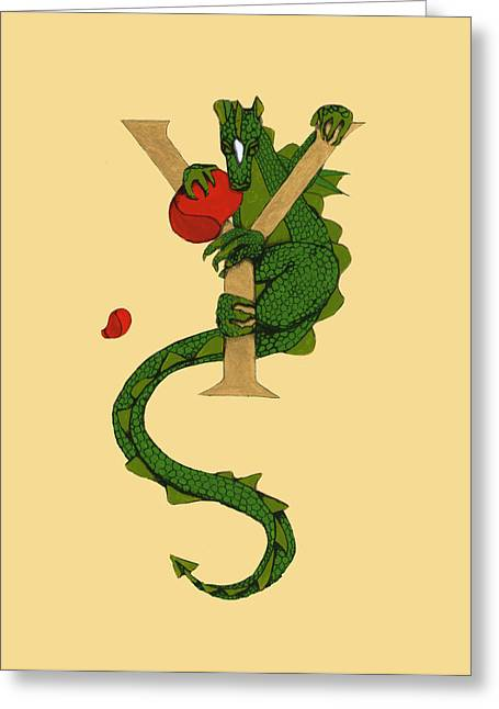 Greeting Card featuring the mixed media Dragon Letter Y by Donna Huntriss