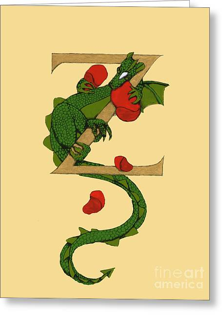 Greeting Card featuring the mixed media Dragon Letter Z by Donna Huntriss