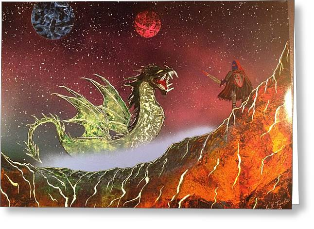 Greeting Card featuring the painting Dragon by Michael Rucker