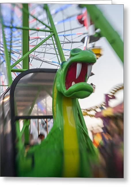 Roar Too The Green Dragon Ride Greeting Card