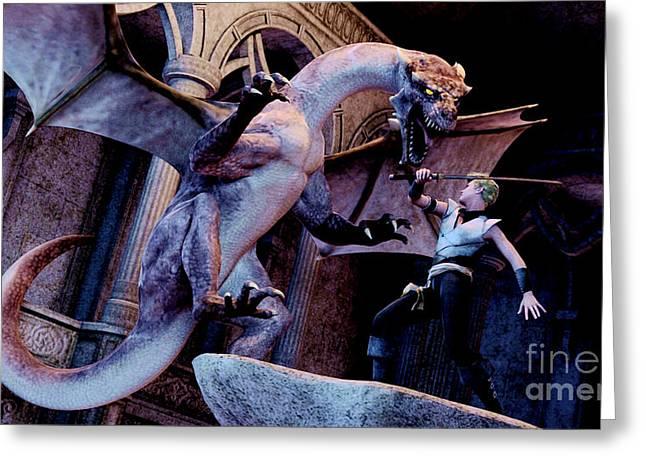 Dragon Slayer Attack Dragon Digital Art By Stanley Morganstein