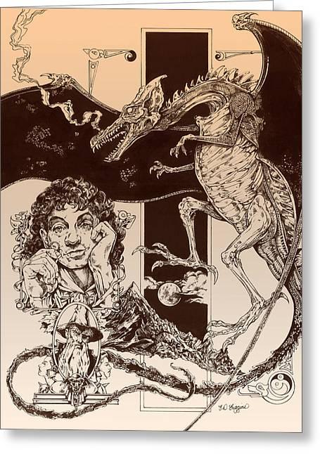 Dragon Smaug-tolkien Appreciation Greeting Card by Derrick Higgins