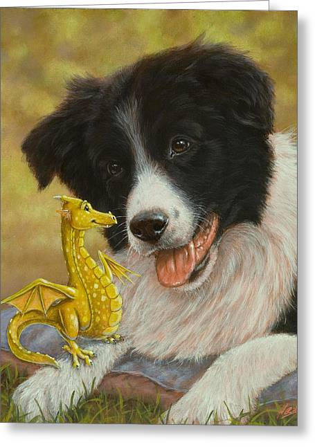 Dragon Tails Greeting Card by John Silver