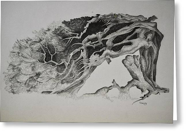 Dragon Tree With People Greeting Card by Glenn Calloway