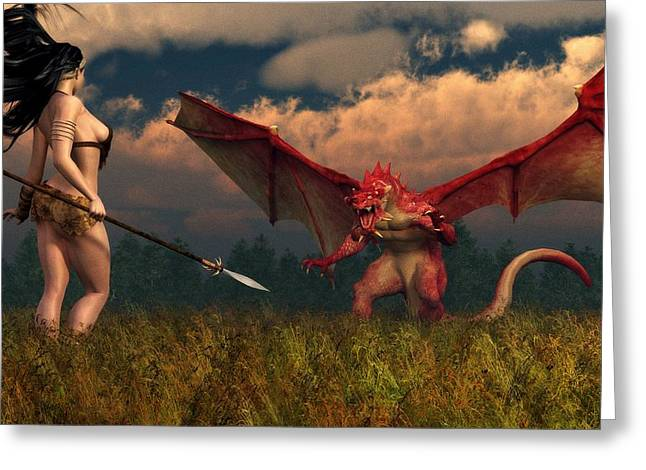 Greeting Card featuring the digital art Dragon Vs Cavegirl by Kaylee Mason