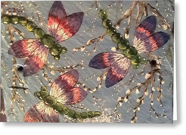 Greeting Card featuring the painting Dragonflies 5 by Megan Walsh