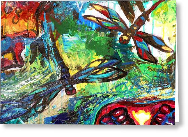 Dragonflies Abstract 3 Greeting Card by Genevieve Esson