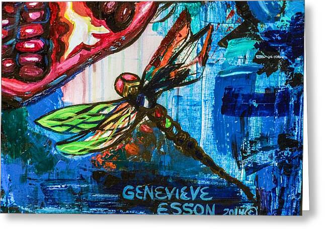 Dragonflies Abstract 4 Greeting Card by Genevieve Esson