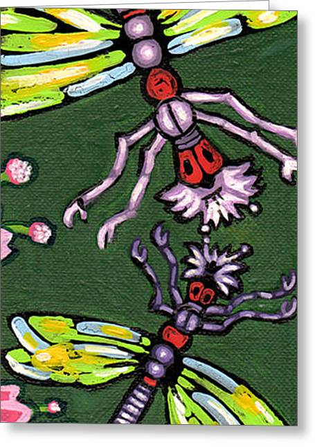 Dragonflies And Water Lilies Greeting Card by Genevieve Esson