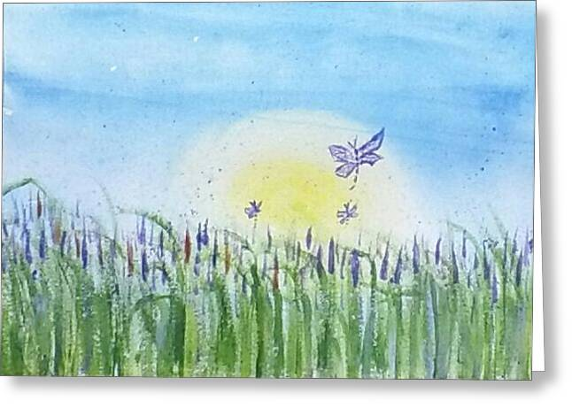 Dragonflies In The Tullies Greeting Card by Carol Duarte