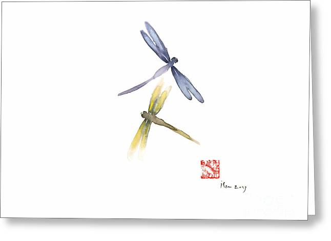 Dragonflies Love Yellow Blue Brown Dragonfly Lake Water Watercolor Painting Greeting Card by Johana Szmerdt